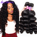 7A Peruvian Loose Wave Virgin Hair 4PCS lot Peruvian Virgin Hair Loose Wave Human Hair Weaves Virgin Pervuain Hair Color 1B