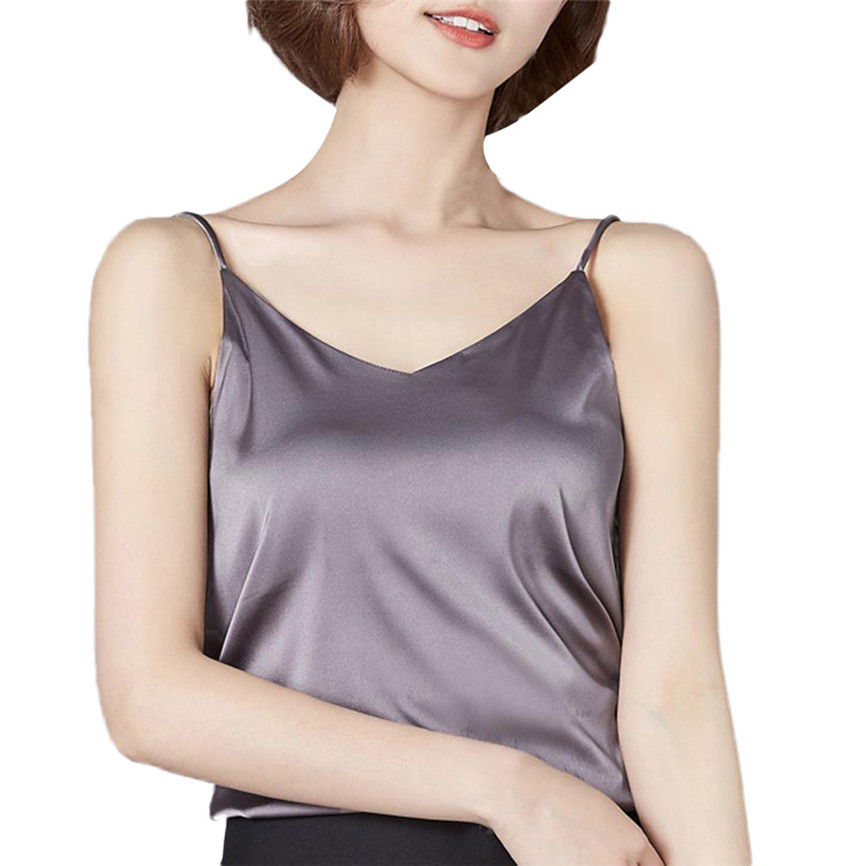 Summer   Tops   Women Sexy Silk Ladies Camisole Bottom Shirt V-Neck Cropped Feminino Female T-shirt Soft Satin   Tank     Top   Crop AHH