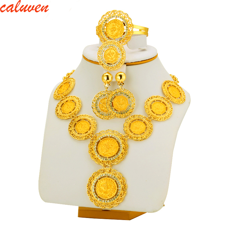 Ethiopian Coin Jewelry Set Necklace/Bangle/Earrings For Women's Fashion Gold Color Africa Gifts Eritrea/Arab/Habesha/Middle East