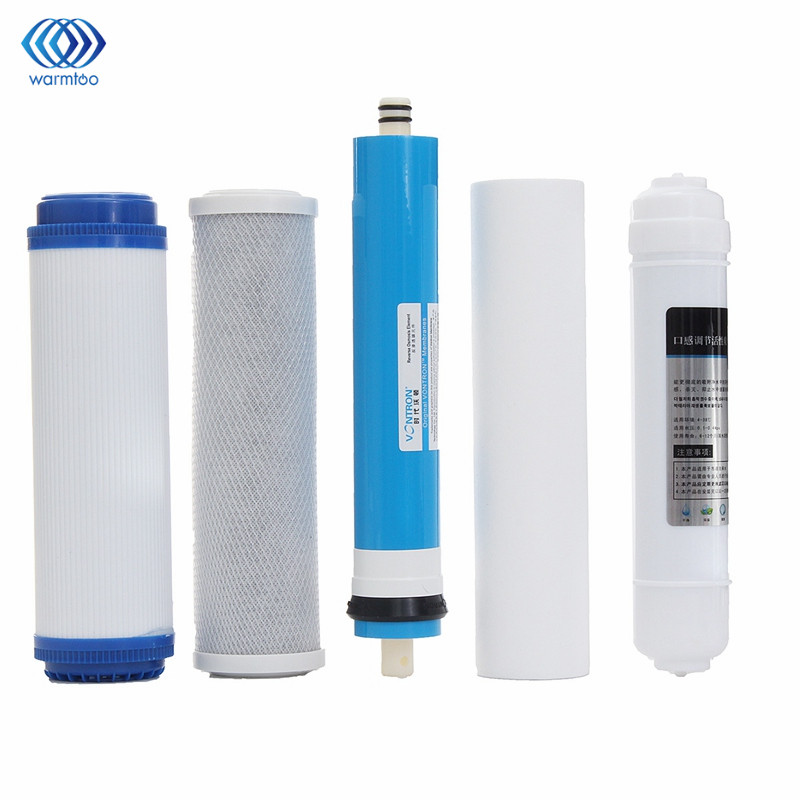 Household 5Pcs 5 Stage RO Reverse Osmosis Filter Water Purifier Equipment Replacement Parts PP Particles Carbon RO Film Rear T33 2 pcs water filter parts 1 4 tank ball valve for tube quick connect switch water purifier ro reverse osmosis system