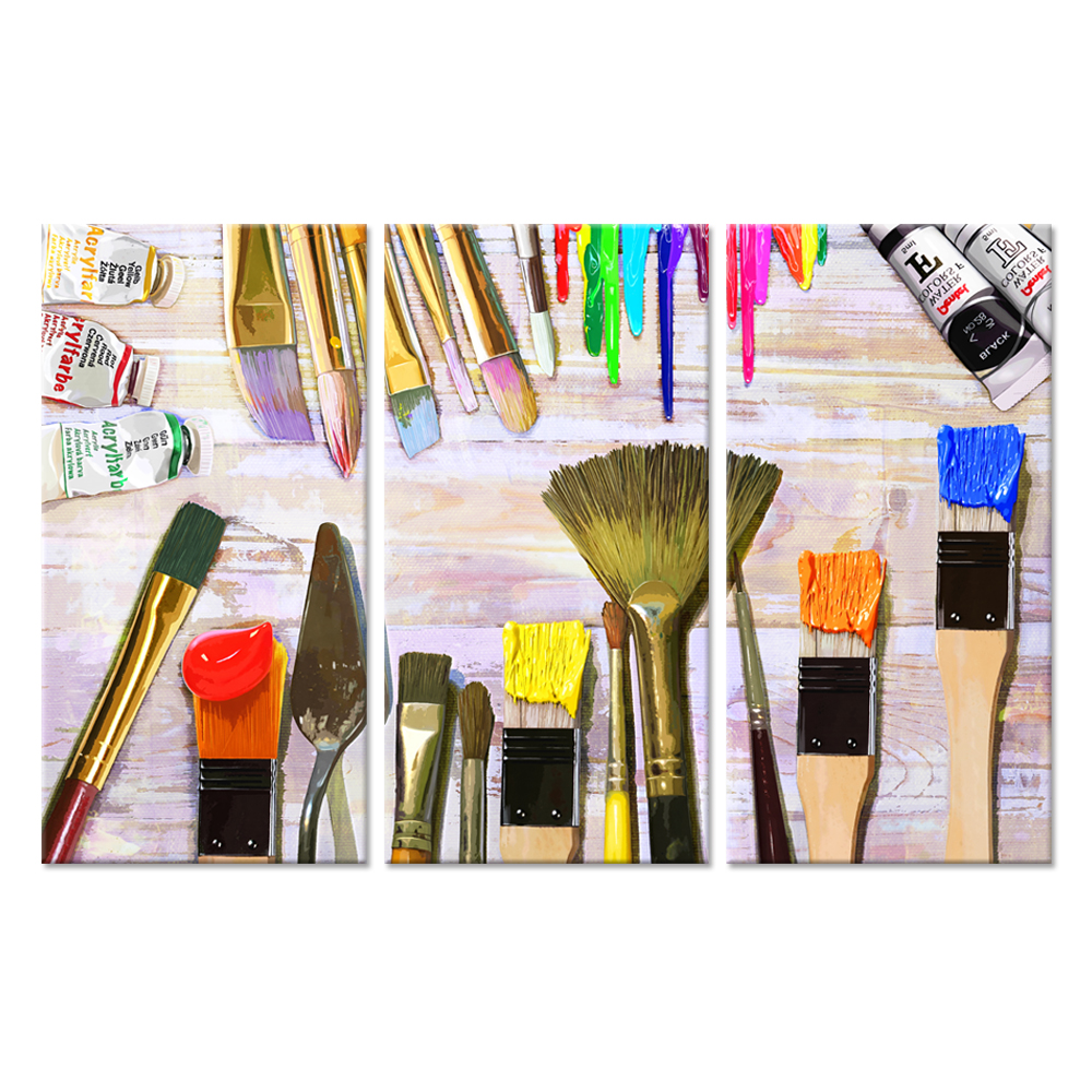 Vintage 3 Pieces Canvas Prints Wall Art Colorful Pigment Paint Brushes Abstract Picture On Wood Background Great Gift For Artist