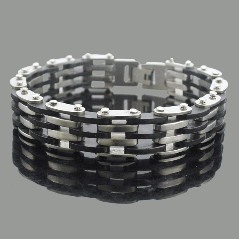ATGO 21cm*12mm Stainless Steel make rubber band bracelet Fashion Jewelry 2016 biker punk cool High Quality bangles BB066