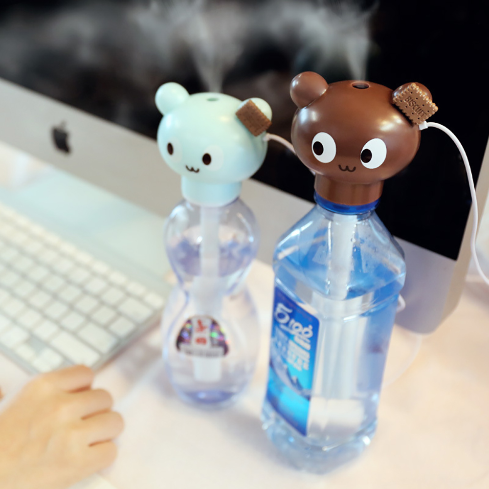 Cute Mini Bottle Caps USB Air Humidifier Ultrasonic Creative Animal Aroma Diffuser Humidifiers Home Office Mist Maker Purifier mymei room office usb mini water bottle caps humidifier aroma air diffuser mist maker