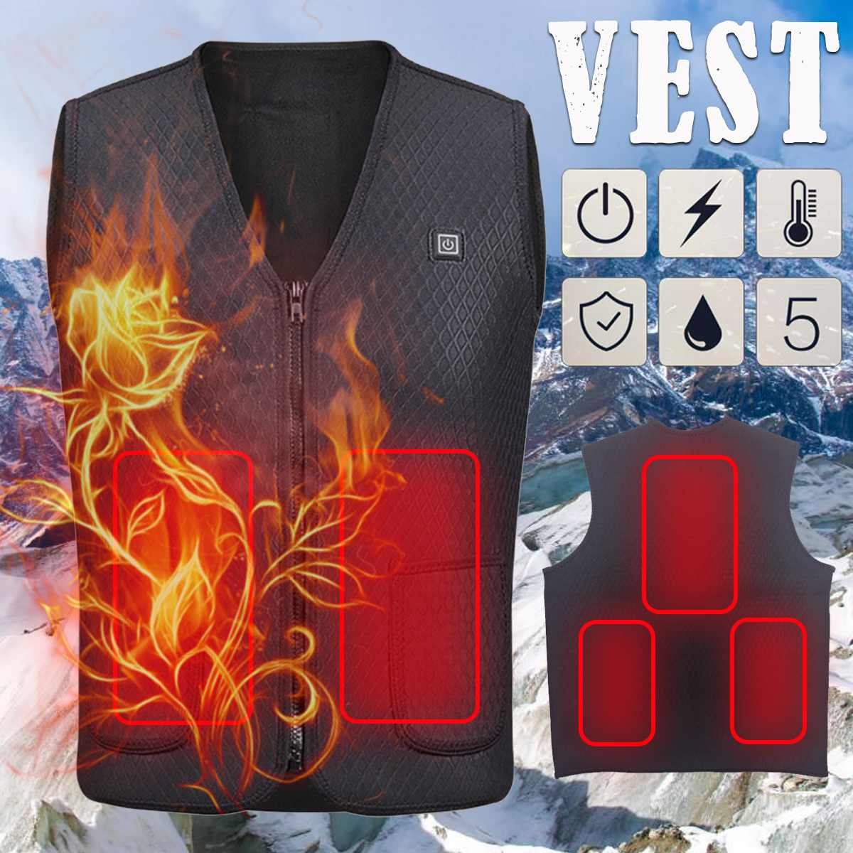 Men Outdoor USB Infrared Heating Vest Jacket Winter Flexible Electric Thermal Clothing Waistcoat For Sports Hiking