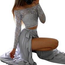 Sexy Women Set Split / Slit Skirts + Off Shoulder Cropped Tops Two Pieces Set Slim Belt skirts Evening Party Lace Maxi Skirt Set