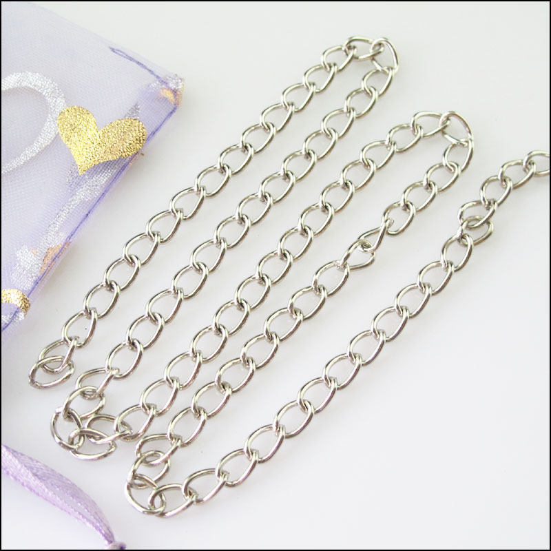 2m Jewellery Chain Link Size 4mm x 3mm. Silver Plated