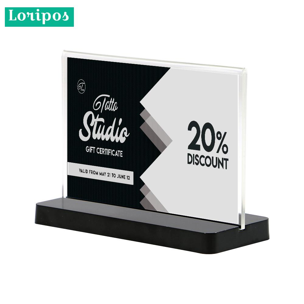 Acrylic Frame A6 Label Holder Stand Wedding Name Card Stand Note Holder Price Tag Display Frame Desk Sign Holder Menu Stand Office & School Supplies Desk Accessories & Organizer