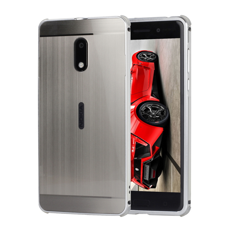 For Nokia 6 Case Cover Aluminum Metal Frame Brushed PC Acryl