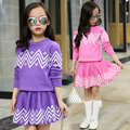 2 Unids Niñas Géneros de Punto Del Suéter + Falda Nueva Llegada 2017 la Primavera y El Otoño adolescente niñas Conjuntos de ropa de moda de la Marca de La Princesa