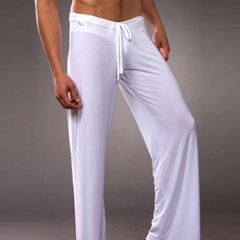 Yoga Ice Silk Thin Low-Waist Breathable Men's Mesh Sleep Pants Transparent Household Pants Sexy Gauze Traceless Sleep Bottoms