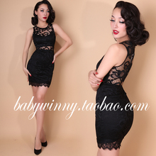 FREE SHIPPING 2016 New Vintage Elegant Sexy Black Lace Sleeveless Hollow Out Perspective See Through Mini Dresses Women Vestidos