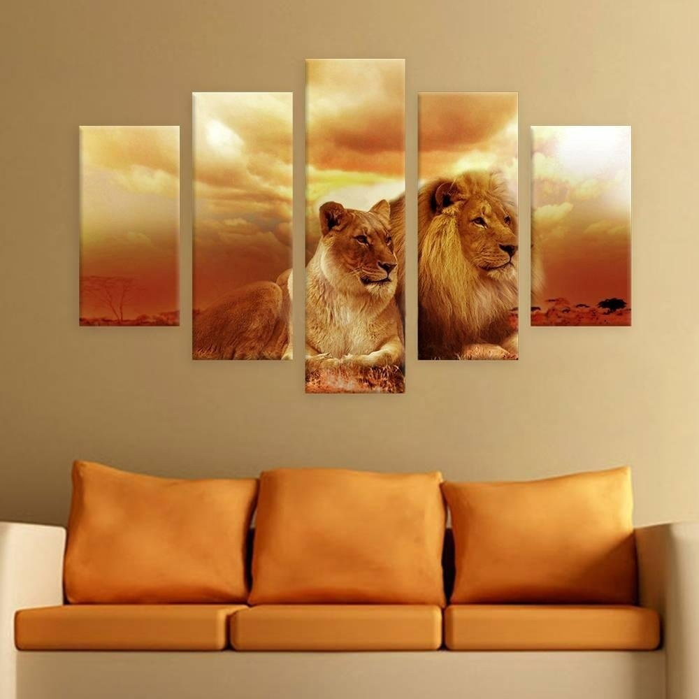 2017 JIE DO ART No Frame Newest 5 Panels Safari Lions In Sunset split Wall Art Poster Paintings Animal Pictures Prints Posters