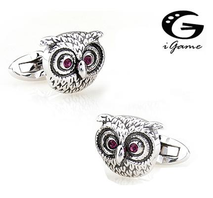 Igame Retro Cuff Links Vintage Owl Design Purple Crystal