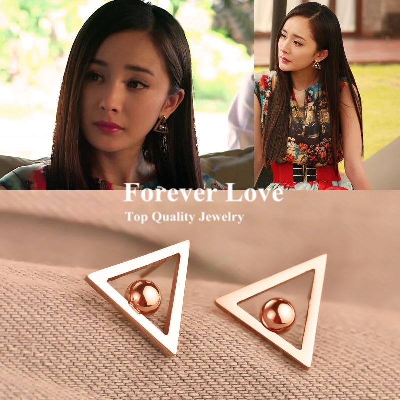 Elegant Trigon Earring Fashion font b Fine b font font b Jewelry b font Titanium Steel