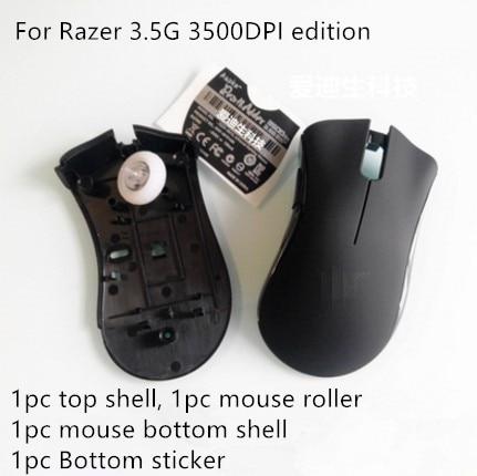9819d64a003 1 set original new mouse top shell+bottom shell+mousr roller+sticker for  Razer Deathadder 3.5G 3500DPI edition mouse housing