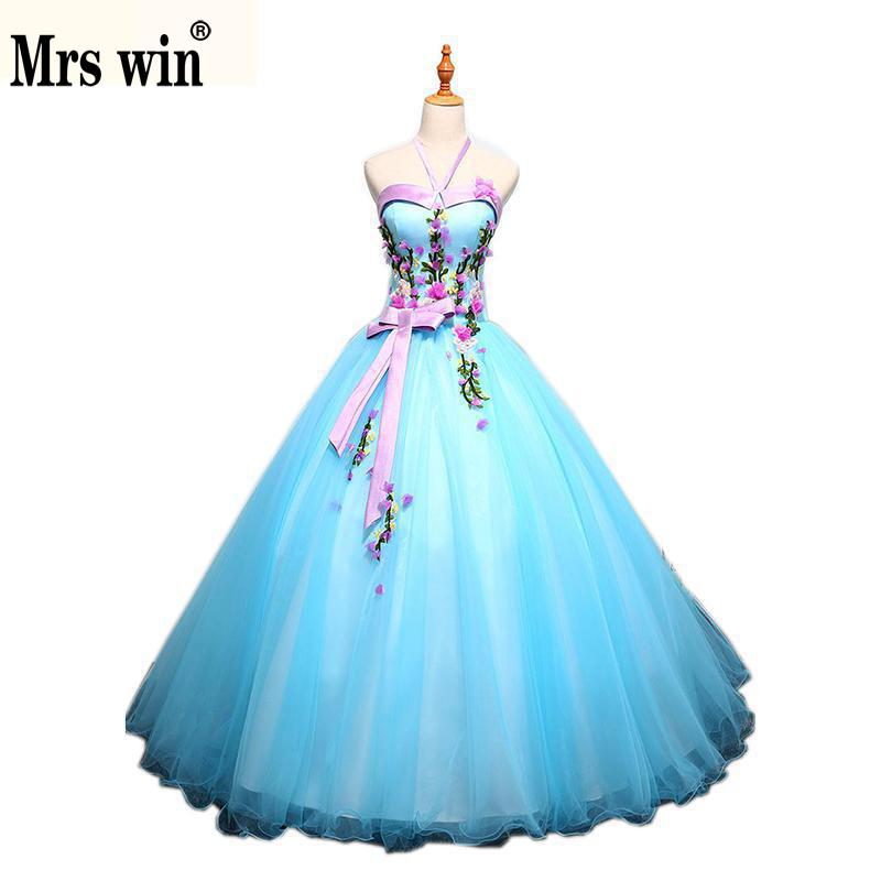 Quinceanera Dresses 2018 New The Halter Sweet Flower Appliques Floor length Ball Gown Candy Color Party