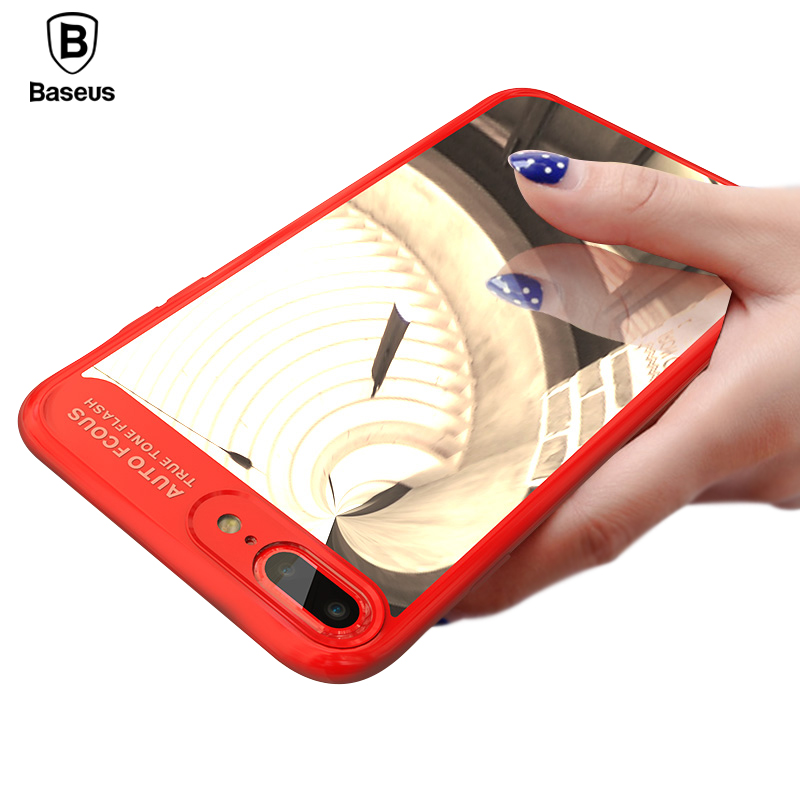 Baseus <font><b>Brand</b></font> Mirror Cover <font><b>Case</b></font> For iPhone 8 7 Plus <font><b>Luxury</b></font> Clear Ultra Thin Capinhas PC &#038; TPU <font><b>Case</b></font> For iPhone 8 Coque Funda Capa