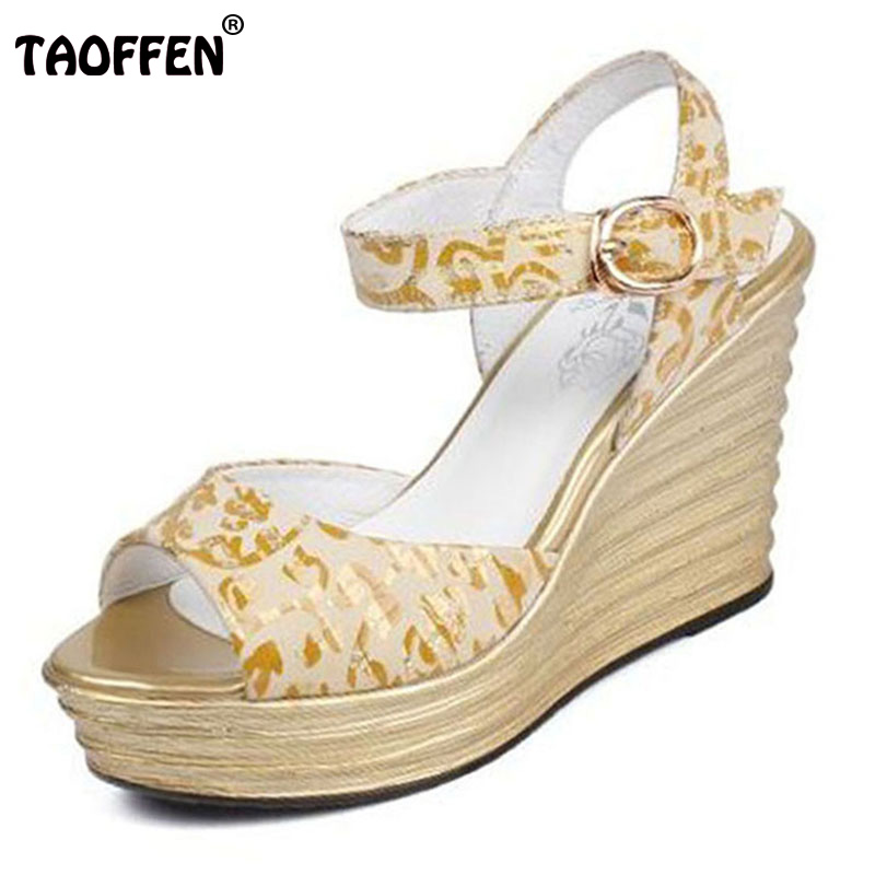 TAOFFEN Vintage Women Real Leather High Wedges Sandals Women Ankle Strap Print Platform Trifle Sandal Summer Shoe Size 32-40 stylesowner elegant lady pumps sandal shoe sheepskin leather diamond buckle ankle strap summer women sandal shoe