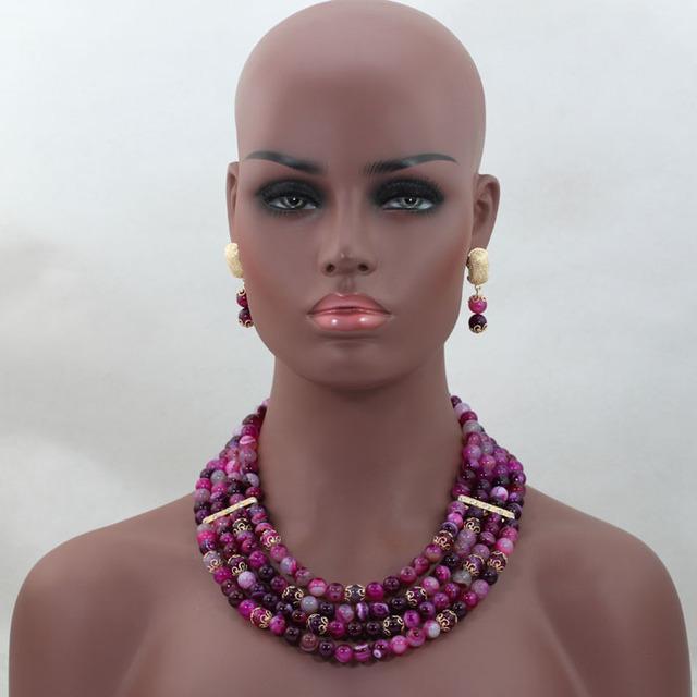 Moda de Boda Nigeriano Beads Africanos Joyería Set 4 Capas Bisutería Conjuntos ALJ468 Dubai Chapado En Oro Del Envío Libre
