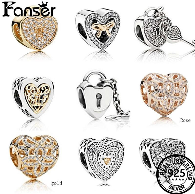 Fanser Love Series Pandor Charm Beads DIY S925 Pure Silver Original Copy Love Heart Shape Women Jewelry Free Mail