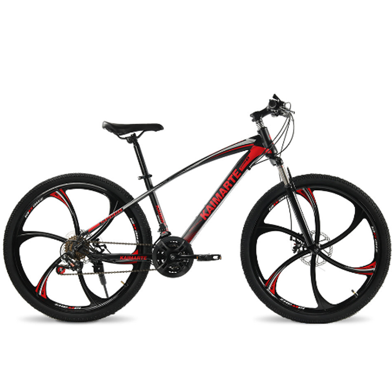 26 pouces vélo de montagne 21 vitesses en acier à haute teneur en carbone cadre vélo double disque freins vélo rayons roue et couteau roue vélo