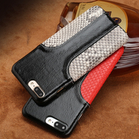 LANGSIDI Phone Case Snake Skin Fight Wax Leather Back Cover Case For Iphone X Mobile Phone