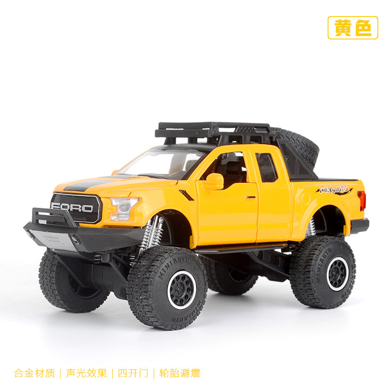 Raptor off-road vehicles car Model With Pull Back Electronic toy with Simulation lights and Music Model Car Toys For kids