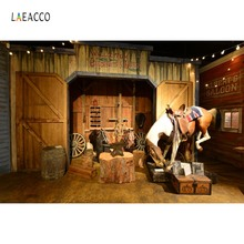 Laeacco Saloon Backdrops Old Wooden Barn Horse West Cowboy USA Child Baby Party Portrait Photography Background For Photo Studio цена