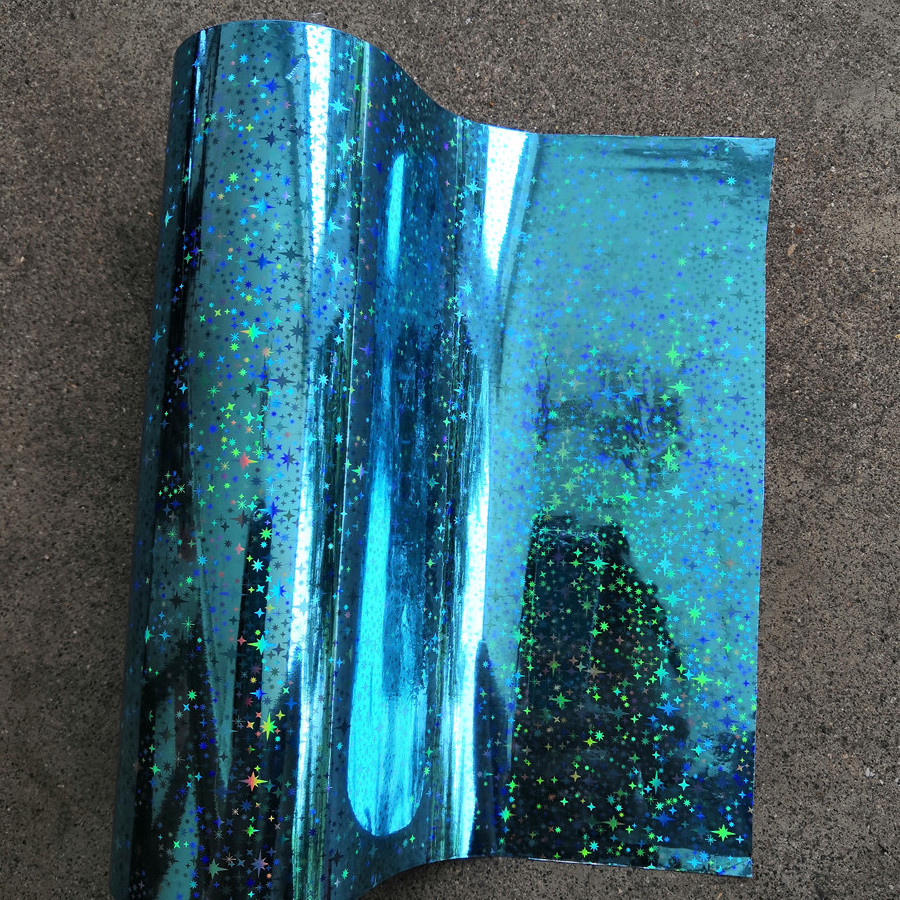 Holographic foil hot stamping foil hot press on paper or plastic sky blue star pattern heat