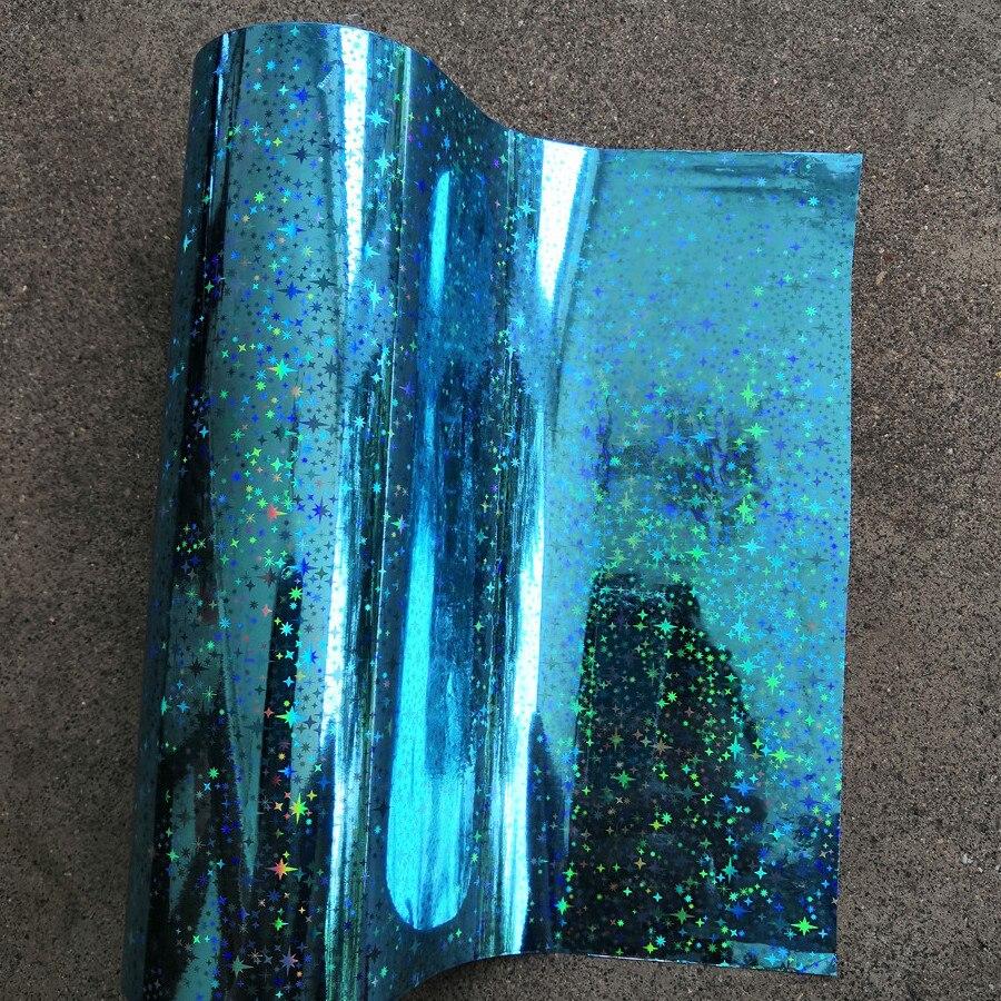 Holographische folie heißprägefolie heißer drücken sie auf papier oder kunststoff sky blue star muster wärme transfer film