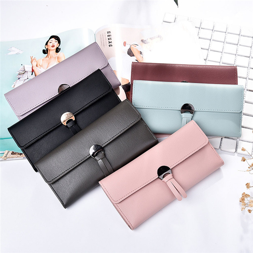 Fashion Metal Hasp Handbag Women PU Leather Wallet Long Clutch Solid Lady Coin Purses Female Card Wallet Women Purses Money Bag saf lady s pu leather wallet clutch long handbag phone case red