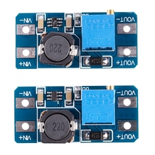цена на 2pcs MT3608 DC-DC adjustable step-up power converter module for Arduino & More