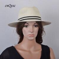 NEW DESIGN 2019 UNISEX Ivory/black Fedora Fashion Panama shape straw hat summer hat beach hat,size M
