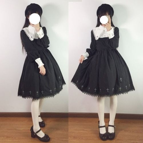 Tree&Sea Gothic Girls Dress Cross Lolita  Vintage Punk Black dress Women JSK Party Fancy Dress Up  any size