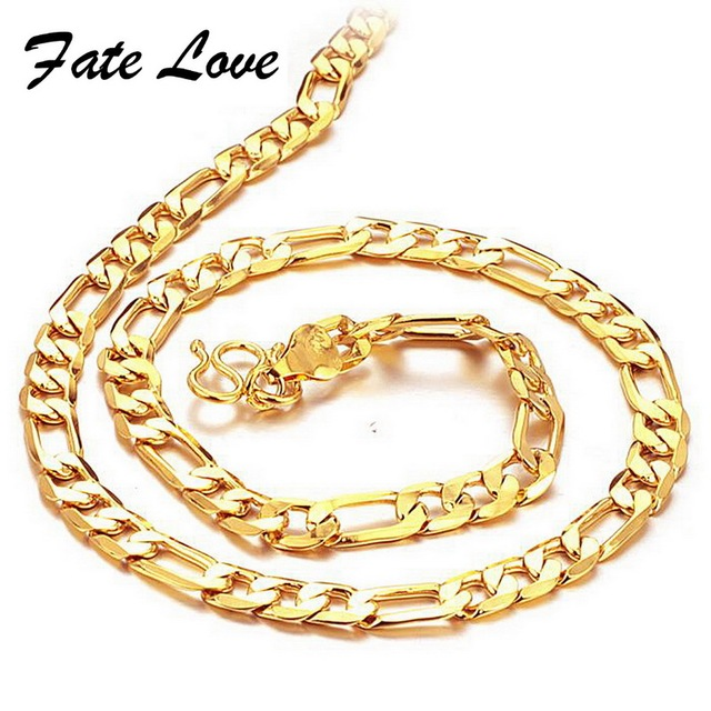 "Men's Gold chains 18K yellow gold Plated necklace thick bright bead link 20"" length 6mm width wedding jewelry FREE SHIPPING 437"