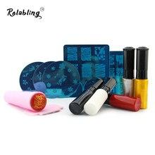 Rolabling Nail Stamping Plates Set Nail Stamp Polish + Nail Art Template + Stamper Scraper Manicure Tool Nail Stencil Set