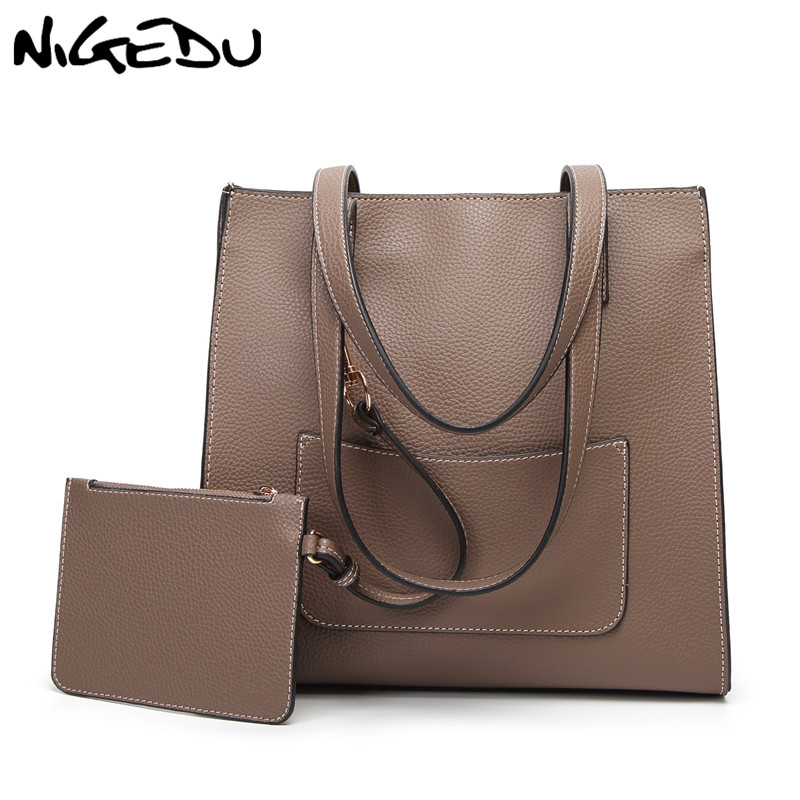 NIGEDU Brand design women shoulder bag High quality PU leather female handbag Large capacity Office bag big Tote Bags bolsas red 2m length black grey 10mm spiral wire organizer wrap tube flexible manage cord for pc computer home hiding cable with clip