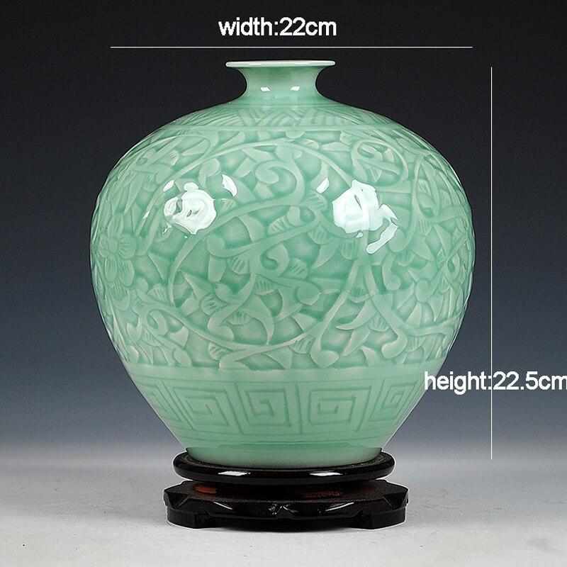 Antique Jingdezhen Chinese Ceramic Green Engraving Jade Vase Wedding