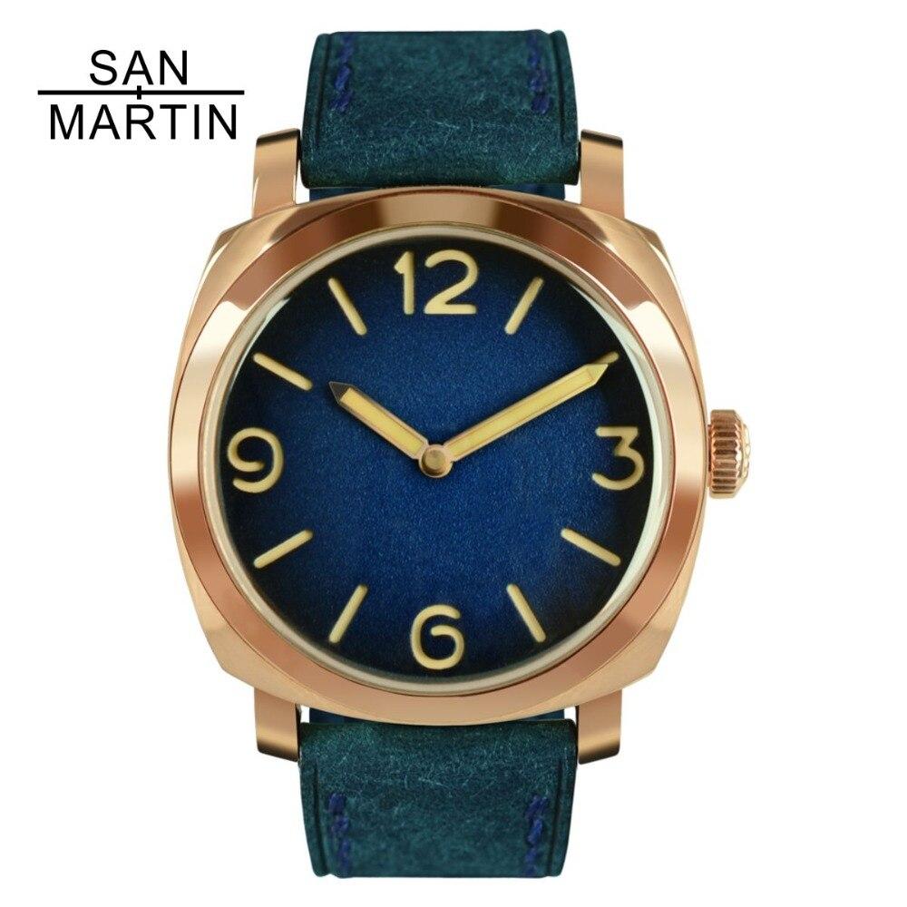 San Martin Vintage Tin Bronze Montre Automatique Montres de Plongée Montre-Bracelet 100 m Résistant À L'eau Lumineux Mains Relojes Hombre 2018