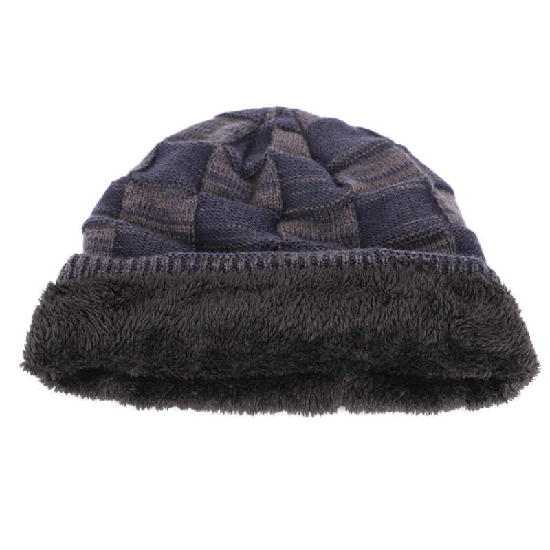 f9d8f3260e993 ... 2018 New Fashion Brand HSWBOY Knit Beanie Hat Winter Striped Plaid Plus  Velvet Thicken Hedging Cap ...