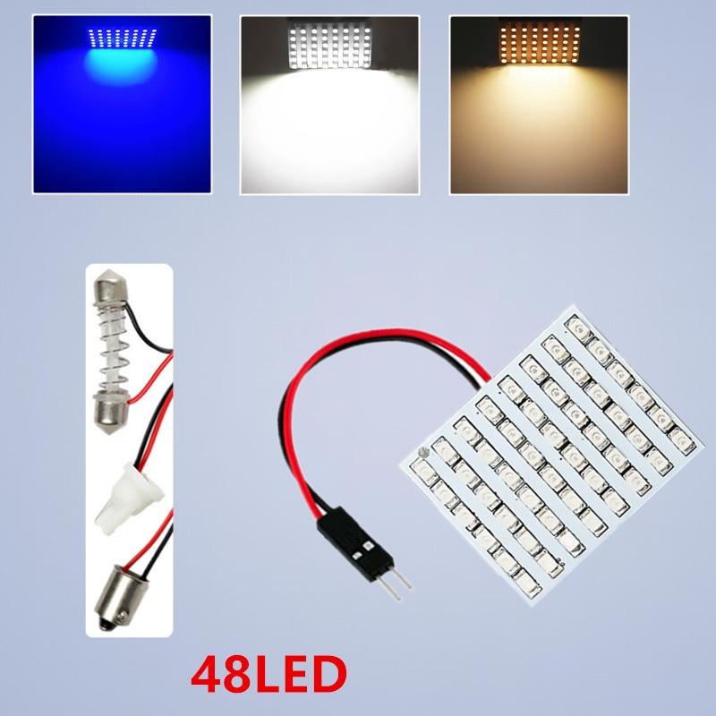 48 SMD Կապույտ, Սպիտակ, whiteերմ սպիտակ Պանելներով առաջնորդված մեքենա T10 BA9S Festoon Dome ներքին լամպ w5w c5w t4w էլեկտրական լամպ Ավտոմեքենաների լույսի աղբյուր կայանման 12 Վ