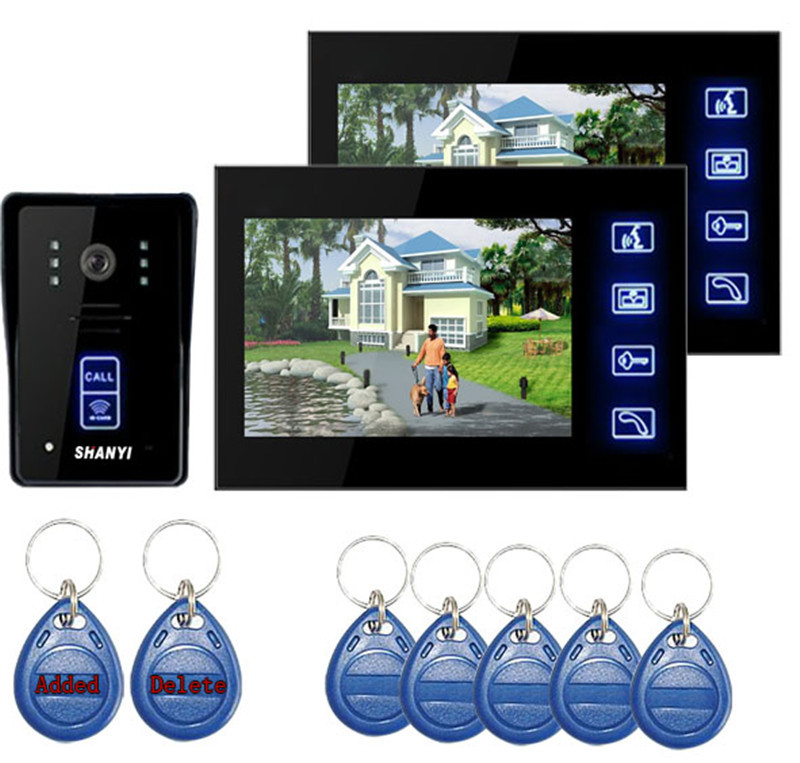 "7"" Color Monitor Touch Key Video Door Phone Doorbell Intercom System IR Camera (1 TO 2)|Video Intercom| |  - title="