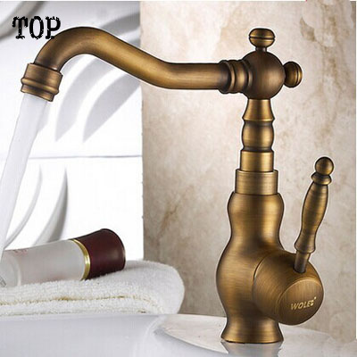 Luxury Vintage Kitchen Faucet Mixer Tap Antique Brass Totally Copper