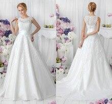 2015 A-Line Scoop Neck Floor Length Vintage Tulle Wedding Dress Bridal Gown Long Bridal Wedding Gown Dress Lace Appliques F1367