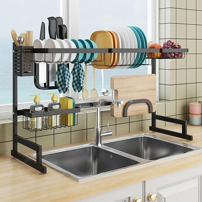 US $59.63 31% OFF|2019 New Kitchen Organizer Dishes Dryer Storage Rack  Holder Kitchen Sink Sponge Holder Tableware Dinnerware Organizer Dryer  Rack-in ...