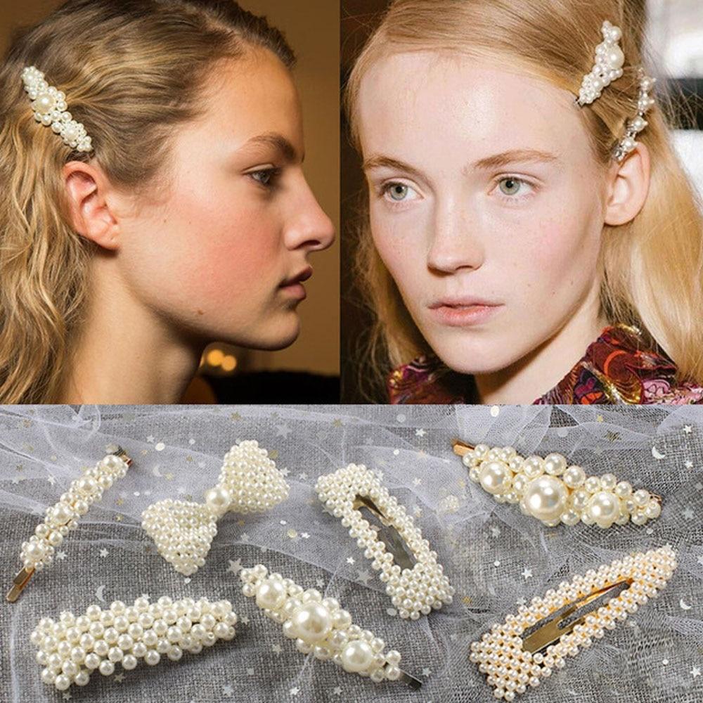 Женские Элегантные заколки с жемчугом и металлическим бантом, вечерние заколки для волос, аксессуары для волос 2020