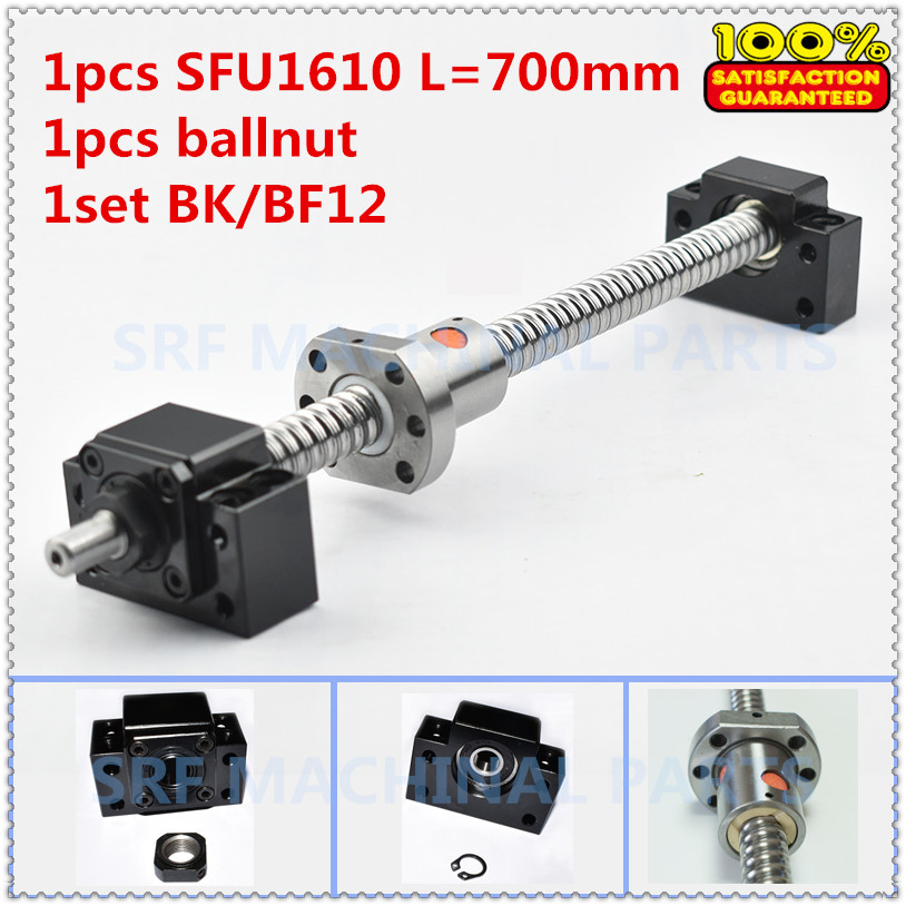 Hot sale!1pcs 16mm Lead=10MM BallScrew 1610 L=700mm Rolled Ball screw SFU1610 with single Ballnut +1set BK/BF12 end support ballscrew sfu1610 l200mm ball screws with ballnut diameter 16mm lead 10mm