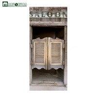 Maruoxuan New 3D Fence Old Wooden Door Door Paste Home Bedroom Sliding Door Decorative Wallpaper PVC