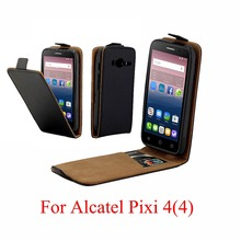 For Alcatel Pixi 4 4034D Cover Luxury PU Leather Flip Case alcatel pixi pixi4 4.0 inch Vertical Open Down Up