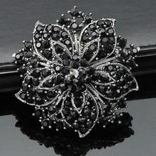 Vintage moda mujer ropa negro cristales flor lujo broche de boda regalo broche Pins para niñas